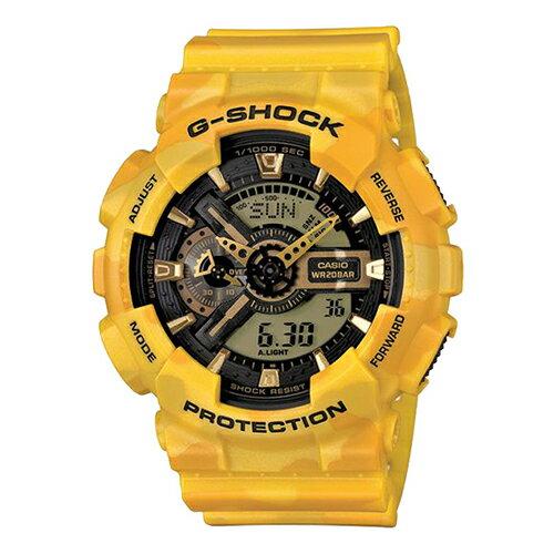 【EST O】G-SHOCK 雙顯 指針 防水 迷彩 手錶 [GA-110CM-9AJF] 黃 F0313 0