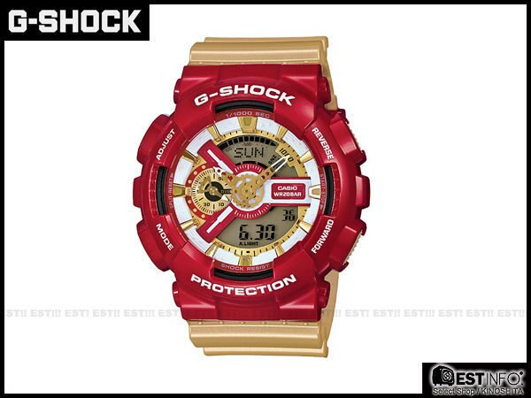 【EST O】G-SHOCK CASIO GA-110 卡西歐 炫彩 樂高 鋼鐵人 手錶 [GA-110CS-4AJF] 紅金 E0808