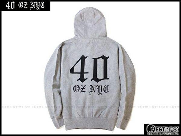【EST】40OZ NYC HOLIDAY 33801 LOGO 經典 連帽 外套 帽夾 [FT-4020] 黑/灰 S~L E0305 1