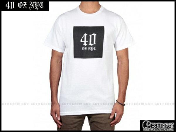 【EST】40OZ NYC HOLIDAY 40440 BOX LOGO 經典 哥德 字體 短TEE [FT-4030-001] 白 S~L E0319 0