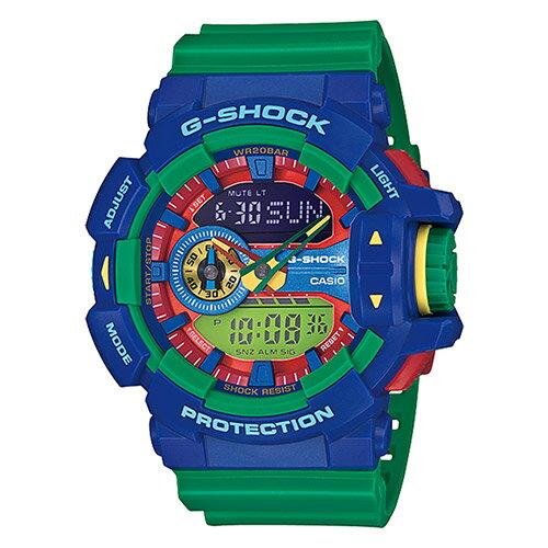 【EST O】G-SHOCK 雙顯 指針 樂高 大錶面 男錶 手錶 [GA-400-2A] 藍綠 F0327
