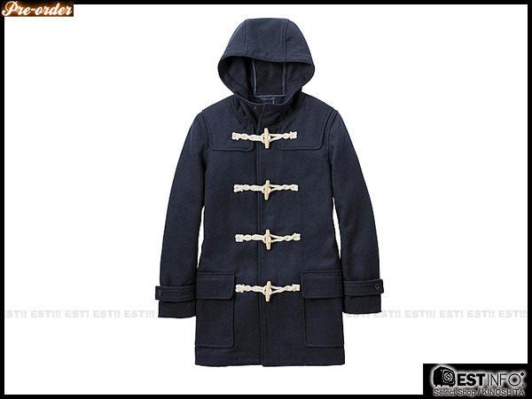 【EST】UNIQLO x g.u. 2012 男 N3B 版 牛角扣 連帽 長版 大衣【228849/GU-2078】灰/深藍 S~L D0124 0