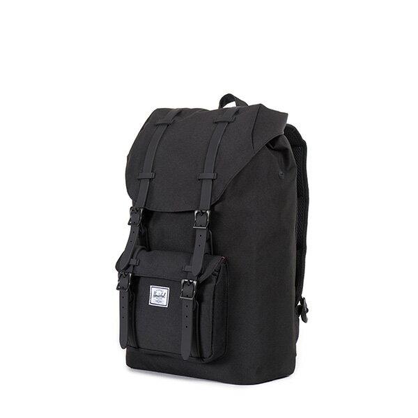 【EST】HERSCHEL LITTLE AMERICA MID 中款 13吋電腦包 後背包 全黑 [HS-0020-155] F0421 2