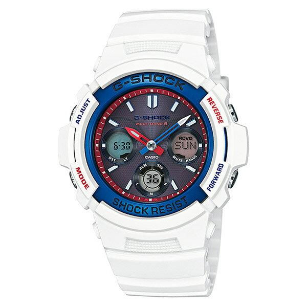 【EST O】G-SHOCK 鋼彈配色 太陽能 無線電 三眼 手錶 白紅藍 [AWG-M100TR-7AJF] F0601