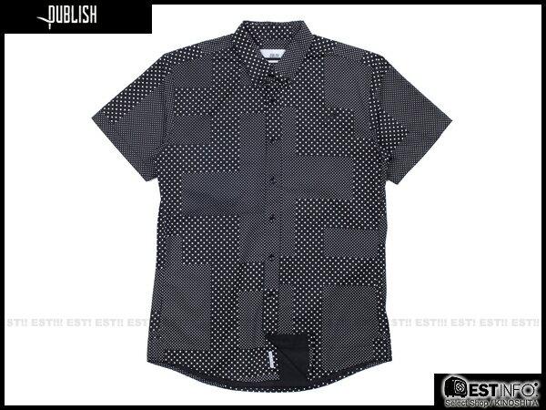 【EST】PUBLISH ELIAS SHIRT 刺繡 羽毛 拼接 點點 短袖 襯衫 [PL-5009-002] 黑 W28~34 E0617 0
