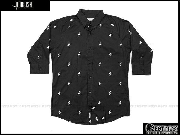 【EST】Publish Eden Shirt 羽毛 印花 七分袖 襯衫 [PL-5011-002] 黑色 S~L E0617 0