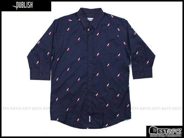 【EST】PUBLISH EDEN SHIRT 羽毛 印花 七分袖 襯衫 [PL-5011-086] 深藍 S~L E0617 0