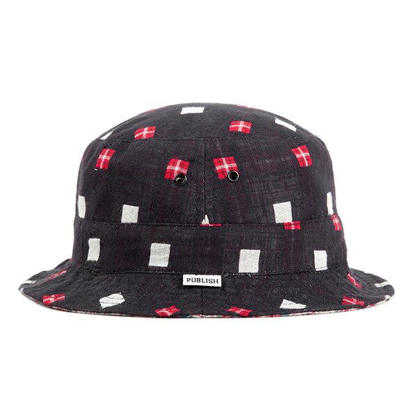 【EST】PUBLISH NICOLO 拼接 格紋 雙面 漁夫帽 黑 [PL-5294-002] F0417 0
