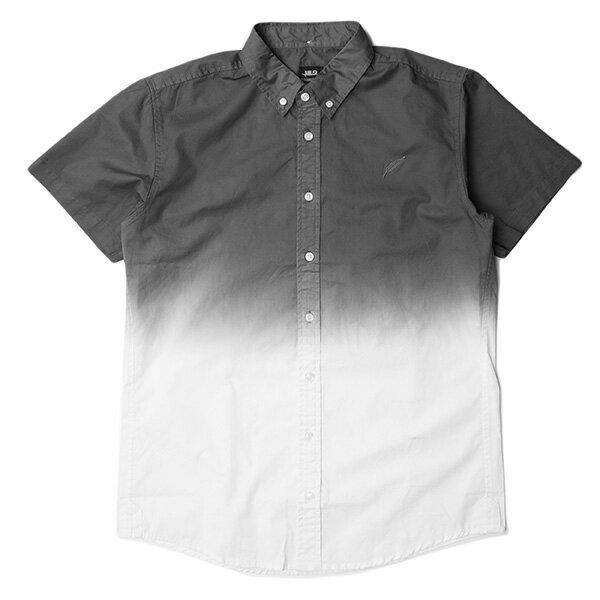~EST~PUBLISH OMER 拚色 漸層 短袖 襯衫 灰白 ^~PL~5337~00