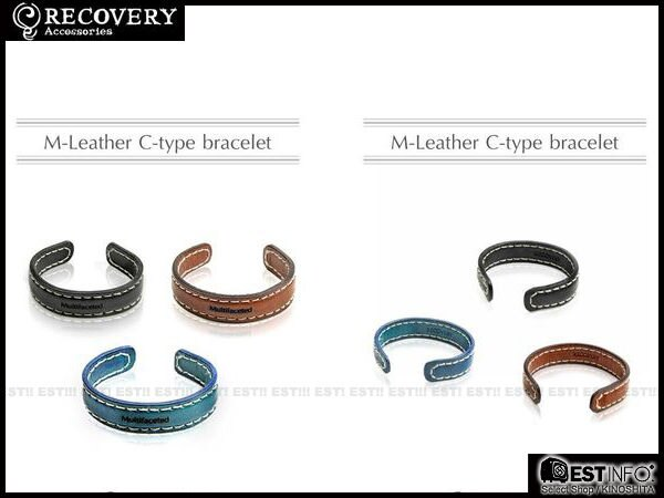 【EST】Recovery 2012-13 Multifaceted M-Leather C-Type Bracelet 皮革 C字 手環 [Rc-2032] 黑/咖啡/藍 D0123 0