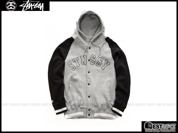 【EST】STUSSY 2014 FW 拼接袖 連帽 棒球 外套 [ST-5012] 灰/黑/深藍 S~L E1010