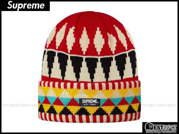 【EST】SUPREME 2013 FW BEANIE BOX LOGO 民族風 針織 反折 毛帽 [SU-4006] 紅 E0307 - 限時優惠好康折扣