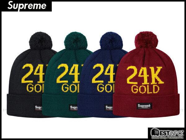【EST】Supreme 2013 Fw Beanie Box Logo 24K Gold 毛球 反折 毛帽 [SU-4010-002] 黑 E0307 1