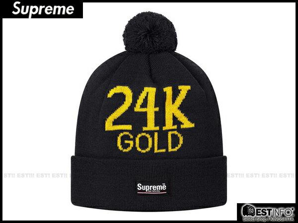 【EST】Supreme 2013 Fw Beanie Box Logo 24K Gold 毛球 反折 毛帽 [SU-4010-002] 黑 E0307 0