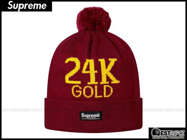 【EST】SUPREME 2013 FW BEANIE BOX LOGO 24K GOLD 毛球 反折 毛帽 [SU-4010-072] 酒紅 E0307