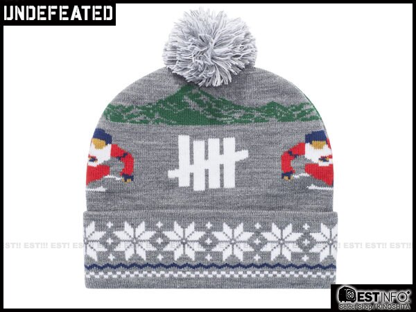 【EST】UNDEFEATED 2013 FW HOLIDAY SLALOM POM-POM 民族 雪花 反折 針織 毛帽 [UF-4026] 黑/灰/紅/深藍 E0114 1