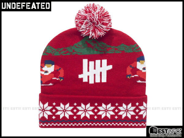 【EST】UNDEFEATED 2013 FW HOLIDAY SLALOM POM-POM 民族 雪花 反折 針織 毛帽 [UF-4026] 黑/灰/紅/深藍 E0114 2