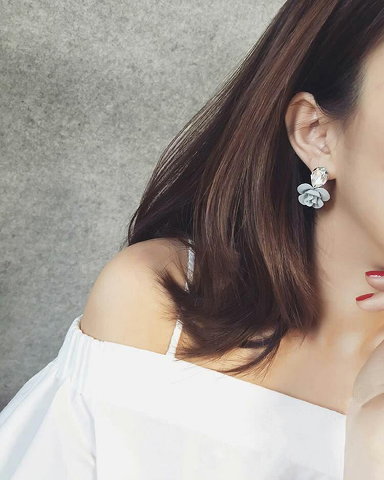耳環 立體花朵水晶氣質耳環耳釘【TSEG874】 BOBI  07/07 2