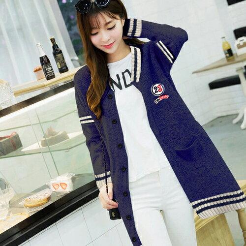 外套 - 撞色羅紋貼布設計針織長袖外套【29189】藍色巴黎《2色》現貨 + 預購 1