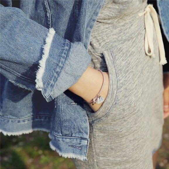 PS Mall 簡約甜美撞色流蘇彩色繩編織小流蘇手鍊手環腳鍊腳環~G2192~ ~  好康