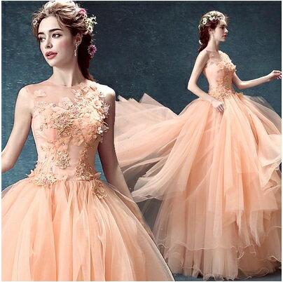 天使嫁衣【AE2415】粉桔色無袖花朵層次裙擺敬酒晚禮服˙預購訂製款
