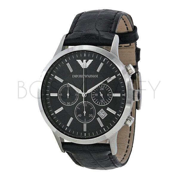 AR2447 ARMANI 亞曼尼 鱷魚紋真皮帶時尚三眼商務休閒錶 男錶