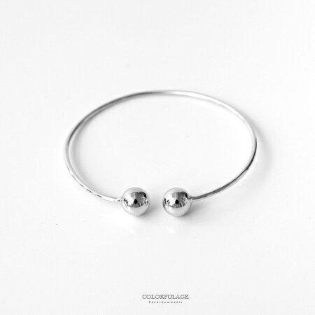 925純銀手鍊 C型開口立體感圓珠造型手環 簡約大方 混搭或單戴皆可 柒彩年代【NPA39】展現氣質 - 限時優惠好康折扣