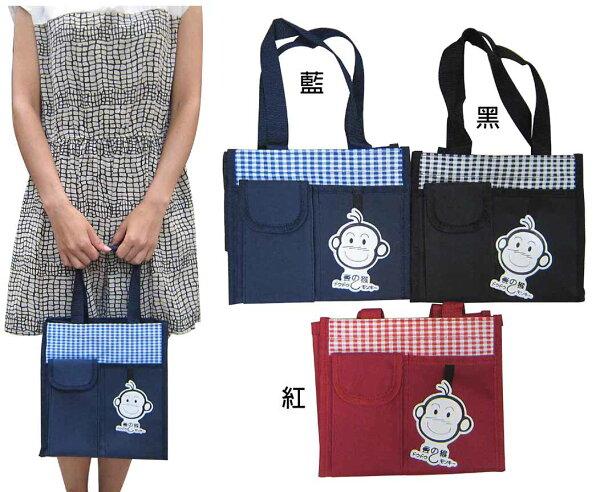 ~雪黛屋~豆豆猴 提袋大容量餐袋小容量才藝袋手提袋簡單袋上學書包以外放置教具品雨衣傘便當袋台灣製造#0693(中)