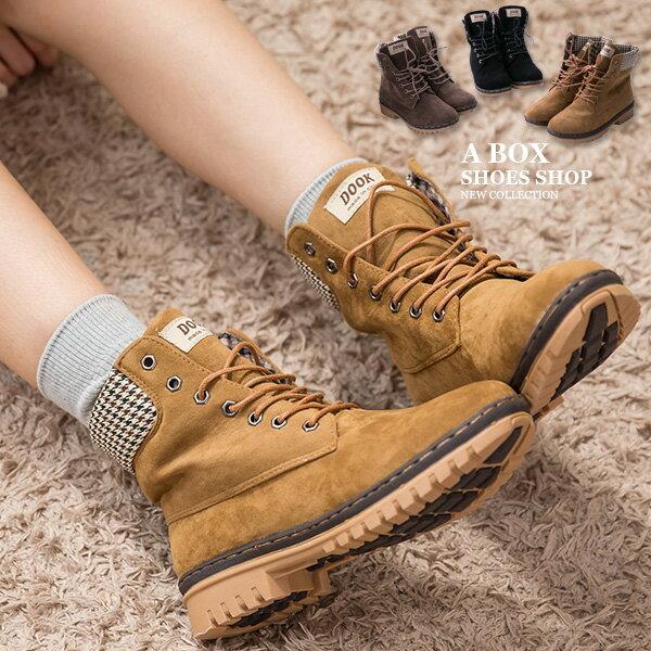 格子舖*【KDLF2107】基本款經典流行 質感麂皮拼接格紋 繫帶個性百搭短筒靴 短靴 工作靴 3色