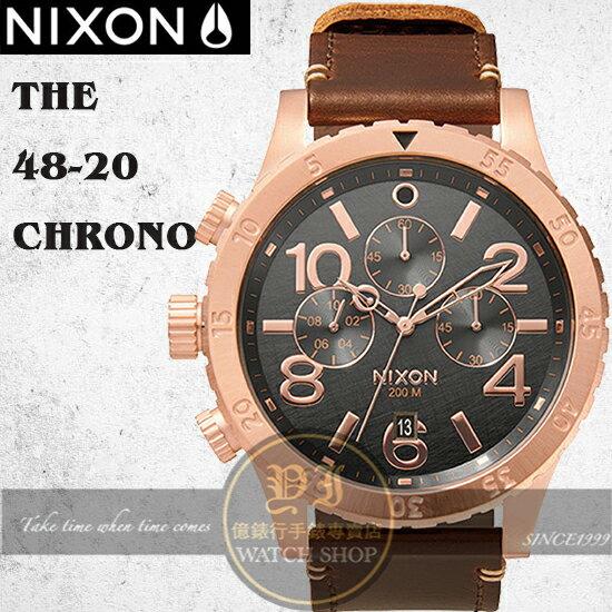 NIXON 實體店The 48-20 CHRONO LEATHER腕錶A363-2001公司貨/極限運動/禮物/情人節
