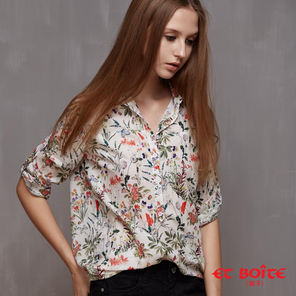 【ET BOiTE 箱子】 夏日花卉印花襯衫 - 限時優惠好康折扣