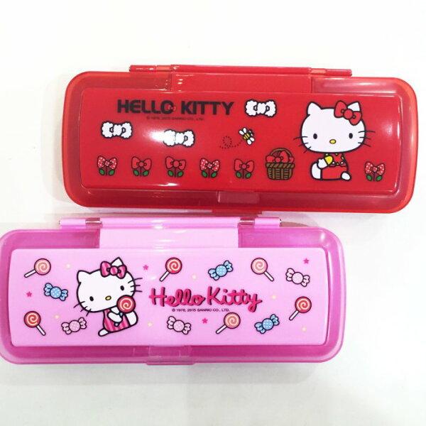 HELLO KITTY 鉛筆盒 雙層 鏡子 梳子 收納盒 置物盒 大容量 文具 正版日本授權 * JustGirl *