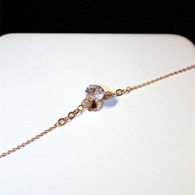 玫瑰金純銀手鍊鑲鑽手環~細緻 甜美迷人七夕情人節 女飾品73jq77~ ~~米蘭 ~ ~