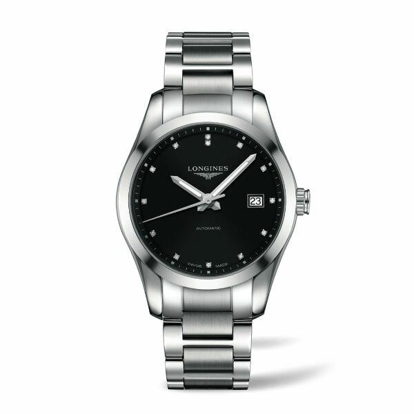 LONGINES L27854586經典征服者真鑽機械男錶/黑面40mm