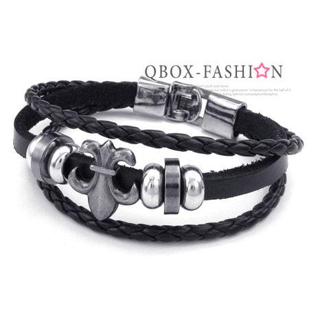 《 QBOX 》FASHION 飾品【W10023731】精緻個性克羅心十字架合金皮革手鍊/手環