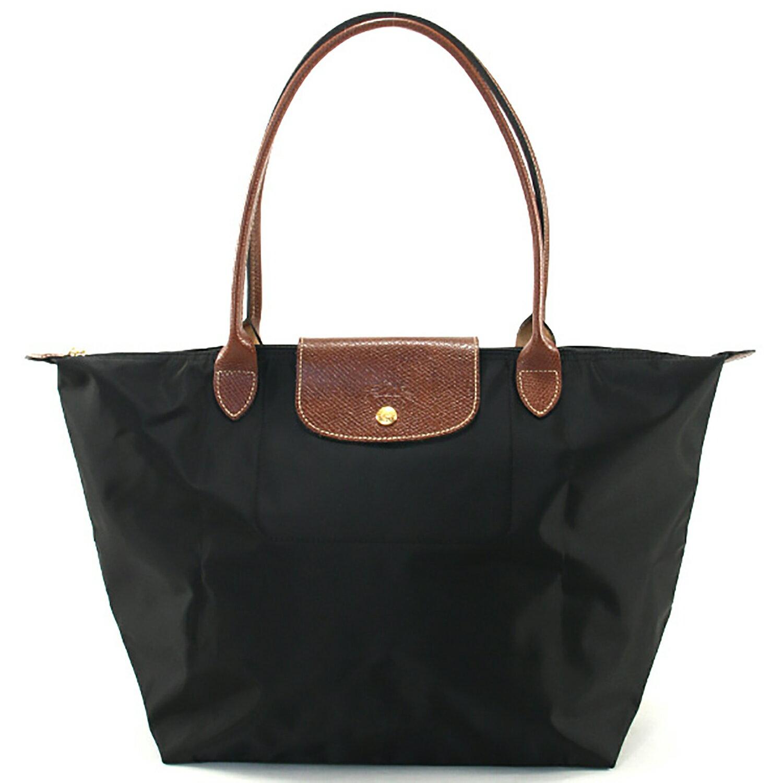 [1899-M號] 國外Outlet代購正品 法國巴黎 Longchamp 長柄 購物袋防水尼龍手提肩背水餃包黑色 0