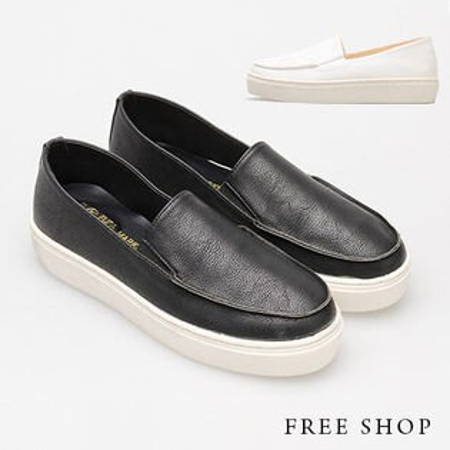 Free Shop【QSH0348】日韓風格率性頹廢風素面皮質舒適休閒鞋懶人鞋‧二色(FL04) MIT台灣製
