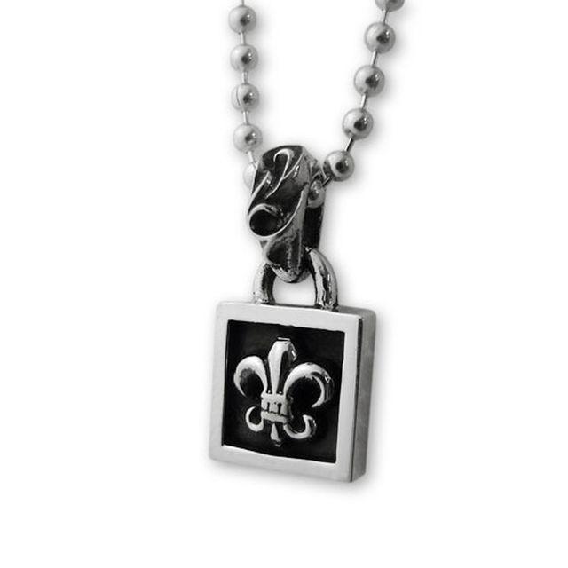 【海外訂購】【Chrome Hearts】鳶尾花方框純銀項鍊 Framed BS fleur (CHC-016 0001380000) 0