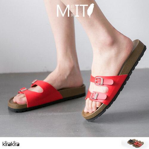 拖鞋 SALE 俐落兩排釦細帶防滑平底拖鞋MIT~011600104~ ~  好康折扣