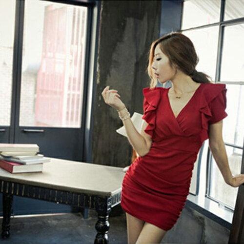 短洋裝 - V領荷葉短袖修身連身裙【29052】現貨《2色》藍色巴黎 1