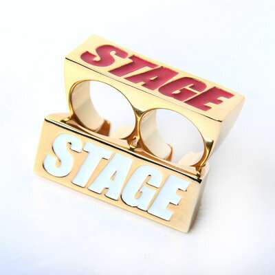 STAGE GOLDEN BOX LOGO 2FINGERS RING 白/紅 字體 2