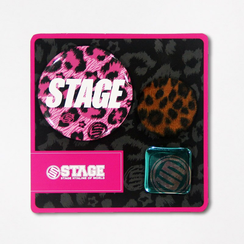 STAGE LEOPARD PIN SET  灰/咖啡/桃紅 2