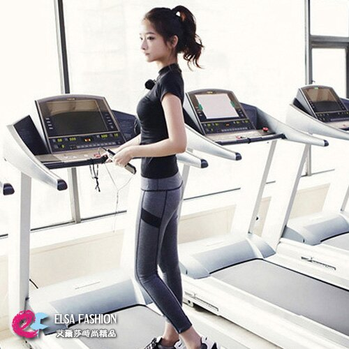 韓版運動套裝 艾爾莎 彈力休閒短袖緊身上衣+激瘦流線跑步健身瑜珈褲【TAE2205】 0