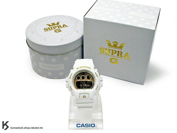 46mm 錶徑 貼合女性手腕曲線 2015 美國潮流板鞋品牌 SUPRA 聯名款式 CASIO G-SHOCK GMD-S6900SP-7DR 白色 白金 圓點 女孩專用 !