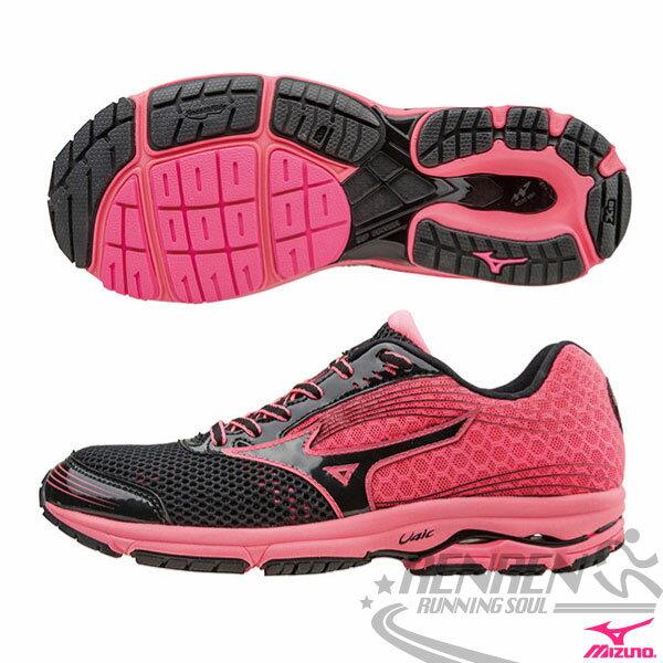 MIZUNO 美津濃 WAVE SAYONARA 3 女慢跑鞋(黑*粉紅) 2015新款 超輕量 路跑訓練