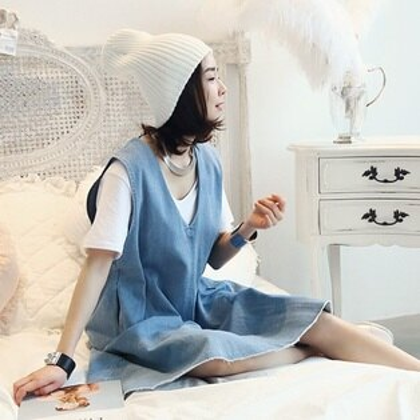 PS Mall 夏季新款韓版休閒V領寬鬆純色牛仔無袖連身裙 洋裝【T1782】