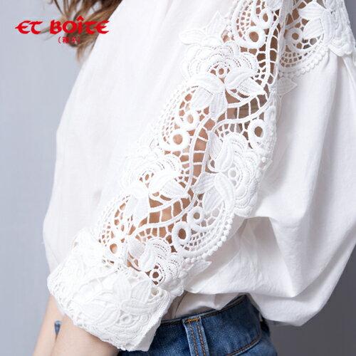 (限時$990)【ET BOiTE 箱子】蕾絲肩袖襯衫 1