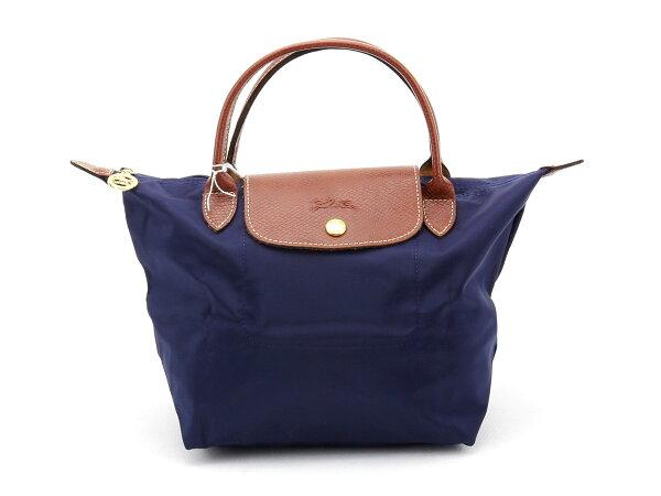 [短柄S號] 海軍藍 國外Outlet代購正品 法國巴黎 Longchamp [1621-S號]  購物袋防水尼龍手提肩背水餃包