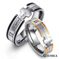 【GIUMKA】承諾永恆戒指 德國精鋼男女情人316L鋼對戒鋯石 黑+玫/一對價格 MR00087