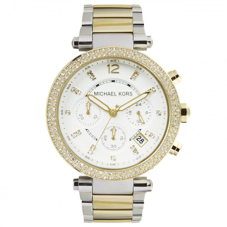 美國Outlet正品代購 MichaelKors MK  金銀色陶瓷 水鑽 三環 手錶 腕錶 MK5626 1